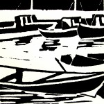 Borghavn (1) (linoleumsnede, 10x10 cm, 2008)