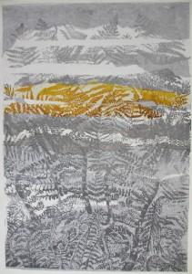 Leven, na de mens (chine colleee linoleumsnede, 70x100 cm, 2012)
